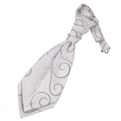 Silver Scroll Pre-Tied Wedding Cravat for Boys
