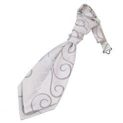 Silver Scroll Pre-Tied Wedding Cravat for Boys