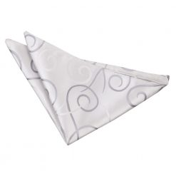 Silver Scroll Handkerchief / Pocket Square