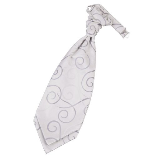 Silver Scroll Pre-Tied Wedding Cravat