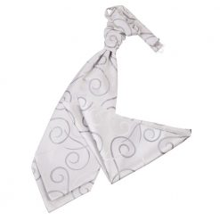 Silver Scroll Wedding Cravat & Pocket Square Set