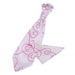 Ivory & Hot Pink Scroll Wedding Cravat & Pocket Square Set