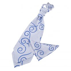 White & Royal Blue Scroll Wedding Cravat & Pocket Square Set