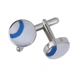 White & Royal Blue Scroll Cufflinks