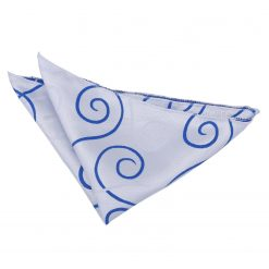 White & Royal Blue Scroll Handkerchief / Pocket Square