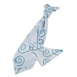 Silver & Teal Scroll Wedding Cravat & Pocket Square Set