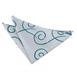 White & Teal Scroll Handkerchief / Pocket Square