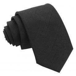 Black Plain Shantung Slim Tie