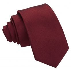 Burgundy Plain Shantung Slim Tie