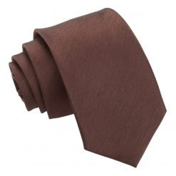 Chocolate Brown Plain Shantung Slim Tie