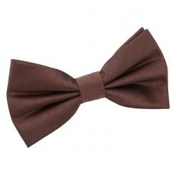 Chocolate Brown Plain Shantung Pre-Tied Bow Tie