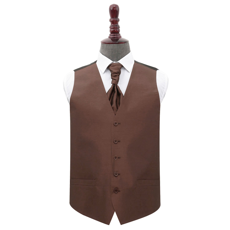 Chocolate Brown Wedding Satin Cravat Mens /& Boys
