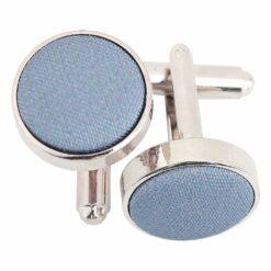 Dusty Blue Plain Shantung Cufflinks