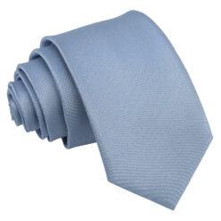 Dusty Blue Plain Shantung Slim Tie