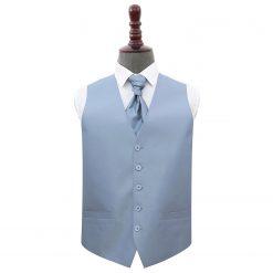 Dusty Blue Plain Shantung Wedding Waistcoat & Cravat Set