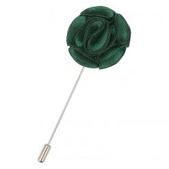 Emerald Green Plain Shantung Lapel Pin