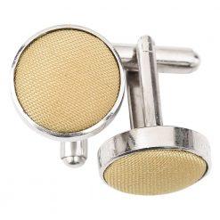 Gold Plain Shantung Cufflinks