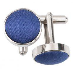 Navy Blue Plain Shantung Cufflinks