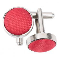 Red Plain Shantung Cufflinks