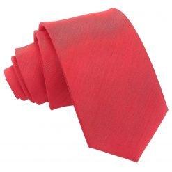 Red Plain Shantung Slim Tie