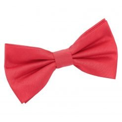 Red Plain Shantung Pre-Tied Bow Tie