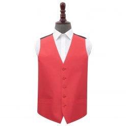 Red Plain Shantung Wedding Waistcoat