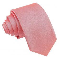 Salmon Pink Plain Shantung Slim Tie