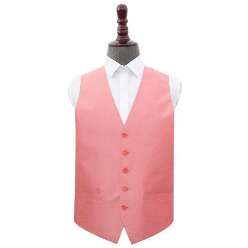 Salmon Pink Plain Shantung Wedding Waistcoat