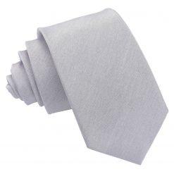 Silver Plain Shantung Slim Tie