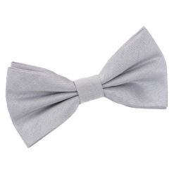 Silver Plain Shantung Pre-Tied Bow Tie