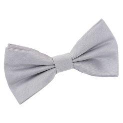 Silver Plain Shantung Pre-Tied Bow Tie