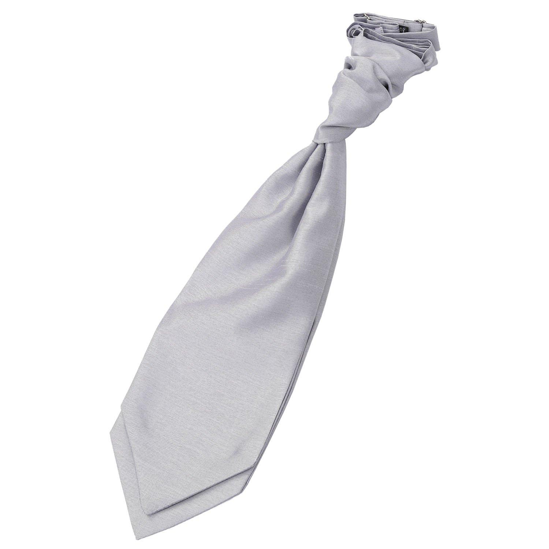 Silver Plain Shantung Pre-Tied Wedding Cravat