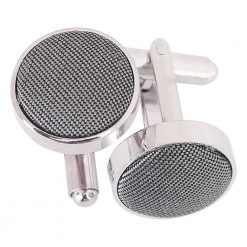 Steel Grey Plain Shantung Cufflinks