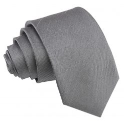 Steel Grey Plain Shantung Slim Tie
