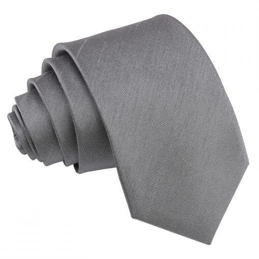 Steel Grey Plain Shantung Slim Tie