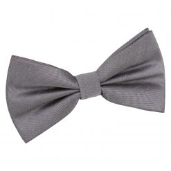 Steel Grey Plain Shantung Pre-Tied Bow Tie