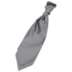 Steel Grey Plain Shantung Pre-Tied Wedding Cravat