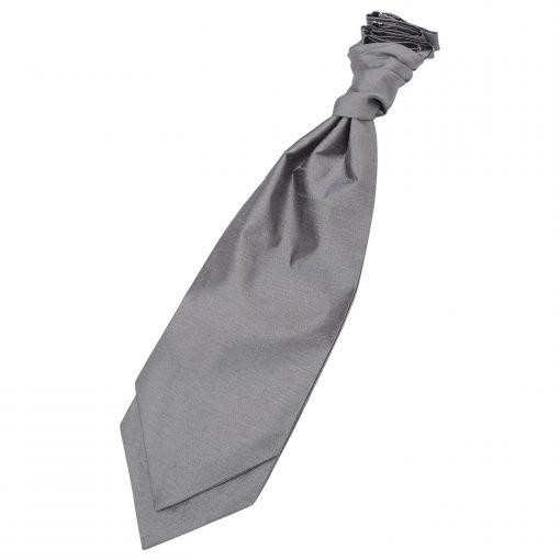 Steel Grey Plain Shantung Pre-Tied Wedding Cravat
