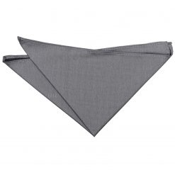 Steel Grey Plain Shantung Pocket Square