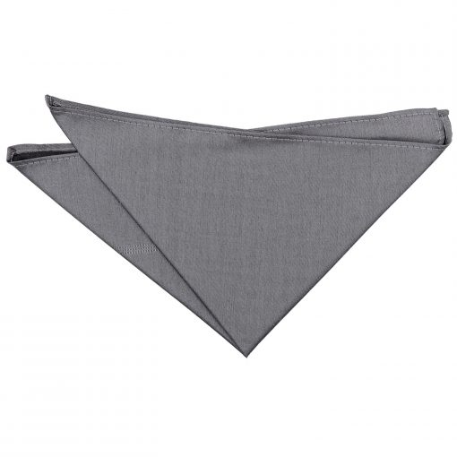 Steel Grey Plain Shantung Pocket Square