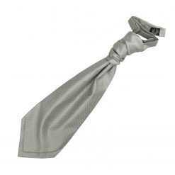 Silver Solid Check Pre-Tied Wedding Cravat