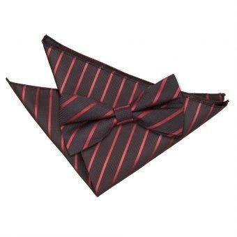 Black & Burgundy Single Stripe Bow Tie & Pocket Square Set
