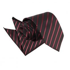Black & Burgundy Single Stripe Tie & Pocket Square Set
