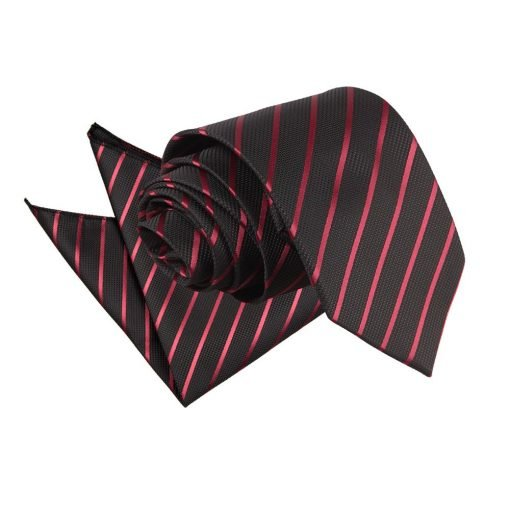 Black & Burgundy Single Stripe Tie & Pocket Square Set