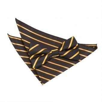Black & Gold Single Stripe Bow Tie & Pocket Square Set