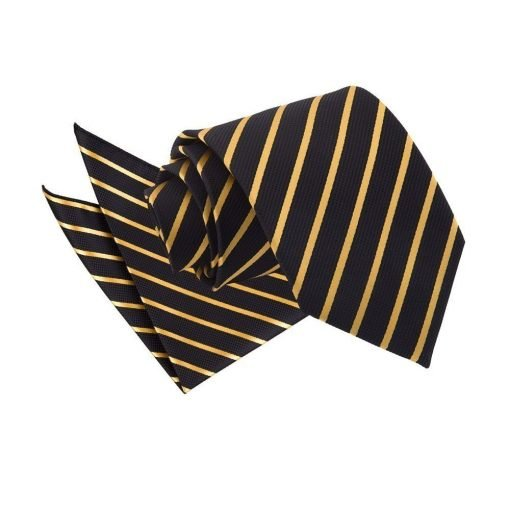 Black & Gold Single Stripe Tie & Pocket Square Set