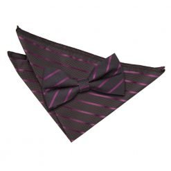 Black & Purple Single Stripe Bow Tie & Pocket Square Set