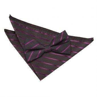 Black & Purple Single Stripe Bow Tie & Pocket Square Set