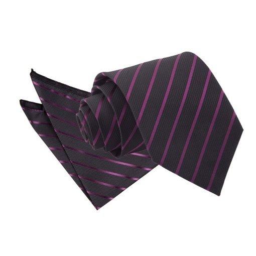 Black & Purple Single Stripe Tie & Pocket Square Set