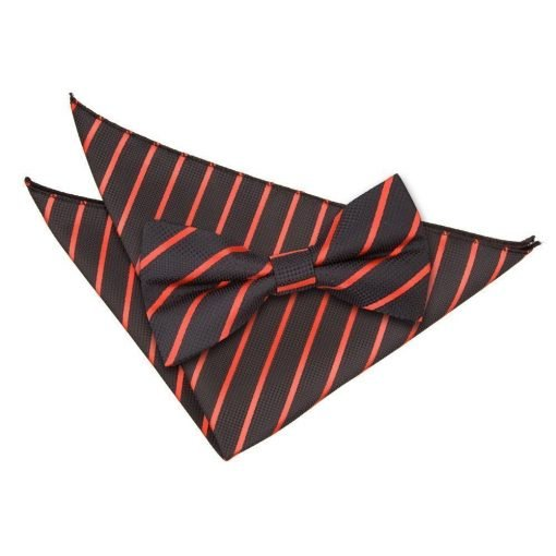 Black & Red Single Stripe Bow Tie & Pocket Square Set